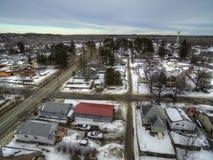 Bovey, Minnesota è una piccola Comunità sulla gamma del ferro di Minnesota nell'inverno fotografie stock libere da diritti