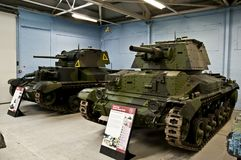 BOVINGTON,在1947年英国2013年3月-12 -建立,坦克博物馆在Bovington,多西特,显示装甲的无花果的一汇集 免版税库存图片