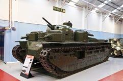 BOVINGTON,在1947年英国2013年3月-12 -建立,坦克博物馆在Bovington,多西特,显示装甲的无花果的一汇集 免版税图库摄影