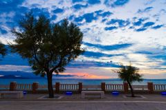 The Bovio Square in Piombino, Italy, at sunset stock photography