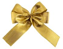 Bow. Fine gold bow (With Clipping Path Stock Photography