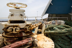 Bow with anchor chain and hawser. Bow of a car ferry in raised position showing anchor chain and hawser Stock Images