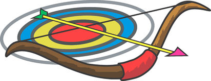 Bow and Arrow. Illustration of a bow and a arrow Stock Image