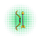 Bow and arrow icon, comics style Royalty Free Stock Photography