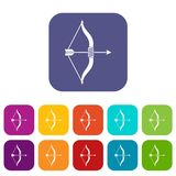 Bow and arrow icons set Stock Photography