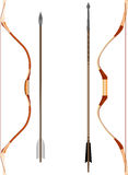 Bow And Arrow. Illustration of two types of old bows and arrows Stock Photography