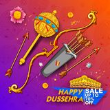 Bow and arrow of Lord Rama and ten headed Ravana for Happy Dussehra Navratri sale promotion festival of India vector illustration