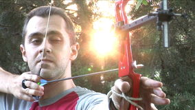 Bow And Arrow Sunset Practice stock footage