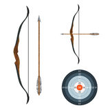 Bow, arrow and target. Stock Photos