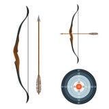 Bow, arrow and target. Stock Photos