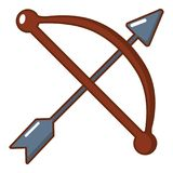 Bow and arrow weapon icon, cartoon style Royalty Free Stock Photos