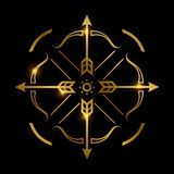 Bow and arrows on black background. Archery emblem vector design royalty free illustration
