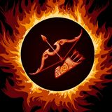 Zodiac Sign of Sagittarius in Fire Circle. Bow and arrows in Flame. Zodiac symbol Sagittarius on fire background. Vector illustration Royalty Free Stock Photos