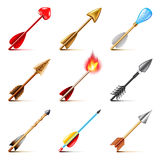 Bow arrows icons vector set. Bow arrows for games icons realistic vector set Royalty Free Stock Photos