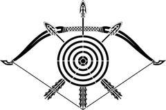 Bow and arrows. Stencil  vector illustration Stock Photos