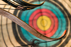 Bow, arrows and target Stock Image