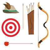 Bow, arrows and a target. Flat design, vector illustration, vector stock illustration
