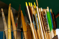 Bow and Arrows Macro. Closeup of archery bows and arrows Stock Photo