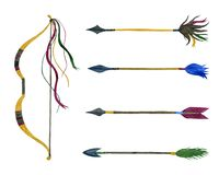 Hunting Bow and Arrows. Watercolor set vector illustration