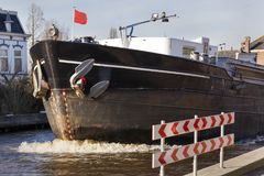 Bow on a barge on the river in Boskoop Stock Photo