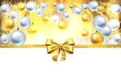Bow and Baubles Christmas Background Stock Images