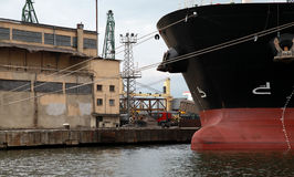 Bow of big industrial cargo ship, Black Sea Royalty Free Stock Photography