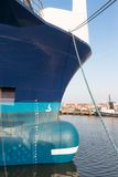 Bow of big ship in Dutch harbor of Urk Stock Photography