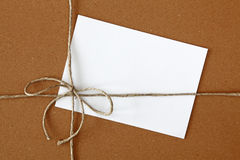 Bow with blank note Royalty Free Stock Image