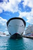 Blue and White Cruise Ship Straight On royalty free stock photos