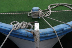 Bow of boat. Bow of blue wooden boat Stock Photography