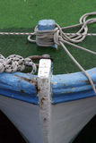 Bow of boat. Bow of blue wooden boat Stock Image