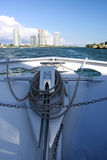Bow of the boat. Looking out of the bow of the boat in Miami Florida Royalty Free Stock Photo