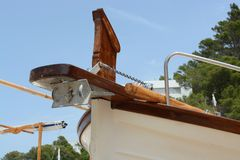Bow of a boat. Close up View of a boat on a beach Royalty Free Stock Photo