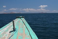 Bow of boat in the Java Sea. With islands in background Stock Image