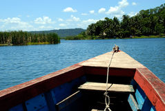 From bow of a boat or plancha. Next Island stop from the bow of a boat or plancha headed toward it Royalty Free Stock Photo
