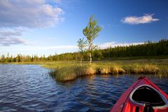 Bow boat and riverside Royalty Free Stock Images