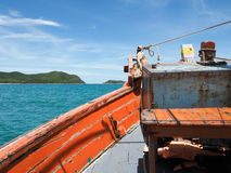 The bow of a boat in the sea Stock Photography