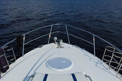 Bow of a boat in top view. On water Royalty Free Stock Photos