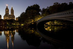 Bow bridge. At sunset in New York's Central Park Stock Images