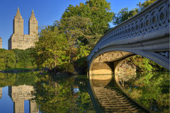 Bow bridge. At dawn in New York's Central Park Stock Photos