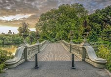 Bow bridge Central Park. The Bow Bridge  is a cast iron bridge located in Central Park, New York City, crossing over The Lake Royalty Free Stock Photo