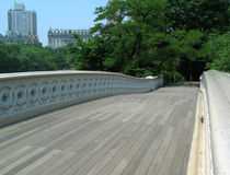 On Bow Bridge in Central Park Stock Images