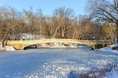 Bow Bridge, Central Park, New York. NEW YORK, NEW YORK - FEBRUARY 9, 2013: Bow Bridge in Central Park, NYC after a snow storm Royalty Free Stock Image