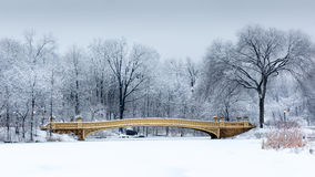 Bow Bridge in Central Park, NYC. Dreamy winterscape with the Bow Bridge from Central Park, NYC at dawn, after a snow storm Stock Image