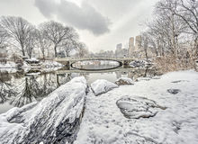 Bow bridge Central Park during snow storm Royalty Free Stock Photography