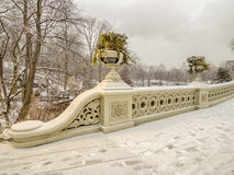 Bow bridge Central Park during snow storm Royalty Free Stock Images