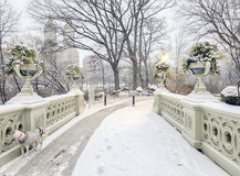 Bow bridge Central Park during snow storm Stock Image