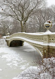 Bow Bridge, Central Park after snowstorm, New York Stock Image