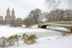 Bow Bridge, Central Park after snowstorm, New York Stock Photography