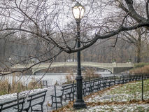 Bow bridge Central Park winter Royalty Free Stock Photo
